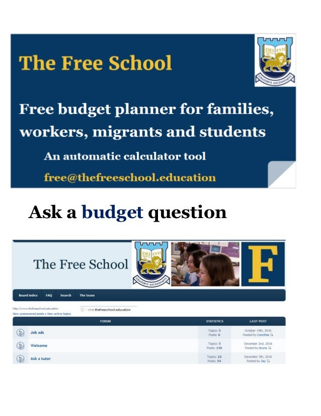 free budget plan families workers migrants students