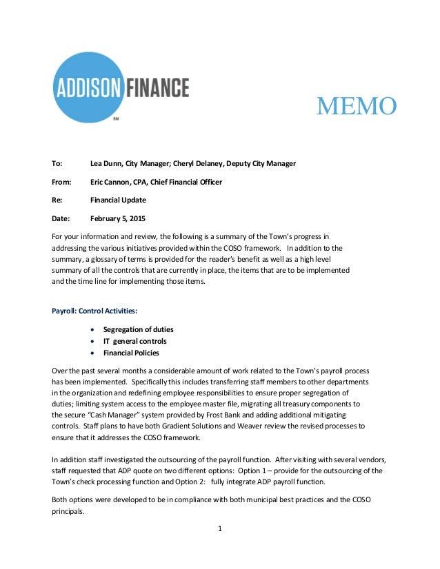 financial memo example