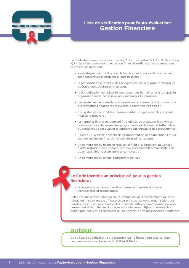 Liste de vérification pour l'auto-évaluation:                                                           Gestion Financiere...