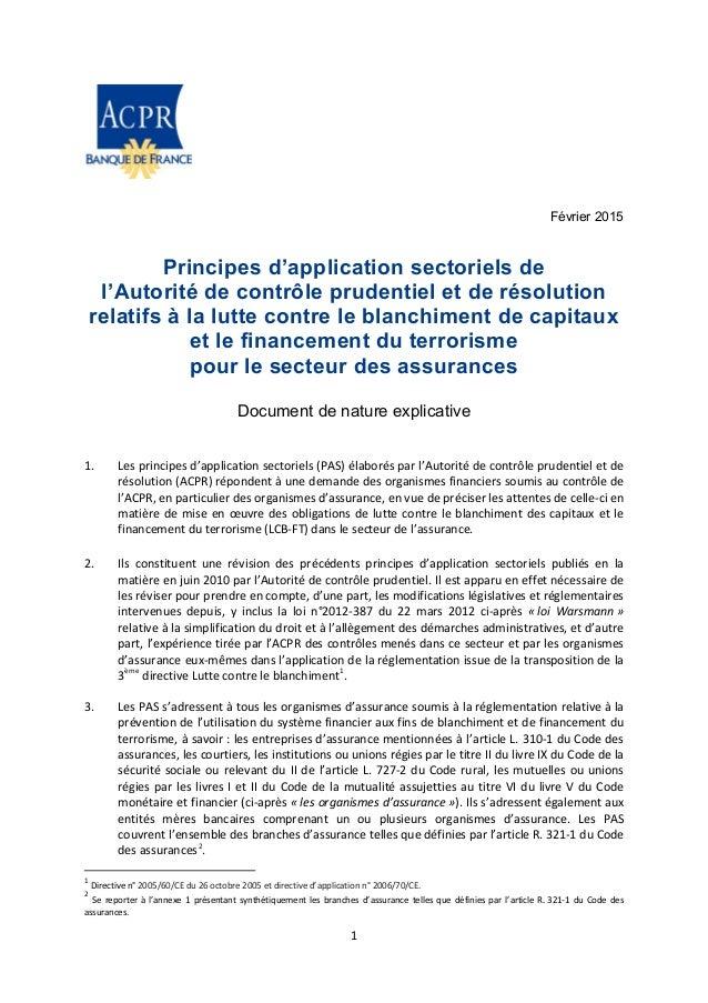 Février 2015 Principes d'application sectoriels de l'Autorité de contrôle prudentiel et de résolution relatifs à la lutte ...