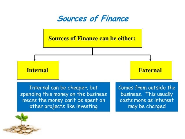 sources of internal and external finance essay The source of this finance can be either internal or external and furthermore it can further subdivided into long or short term long terms sources are those that provide finance for more than a year while short term provide for less than a year internal sources of finance come from within the business and do not require the agreement of.
