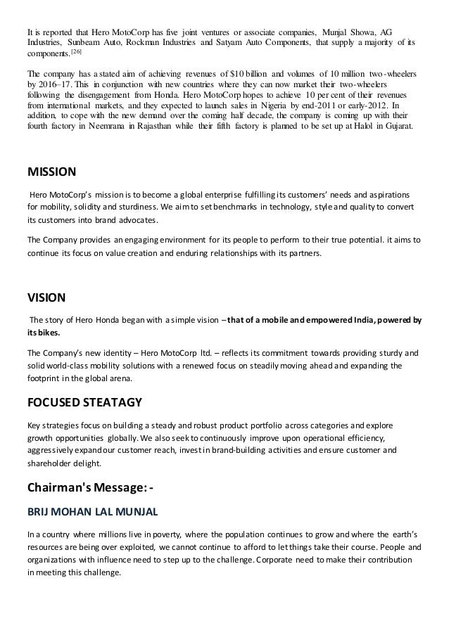 financial objectives of hero honda Marketing strategy of hero honda my thanks to all the financial advisors of hero honda especially mr if the objective is not attainable a different objective.