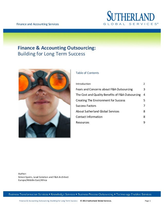 Finance and Accounting Services         Finance & Accounting Outsourcing:        Building for Lo...