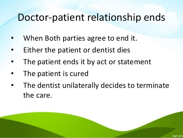 Terminating the patient provider relationship essay