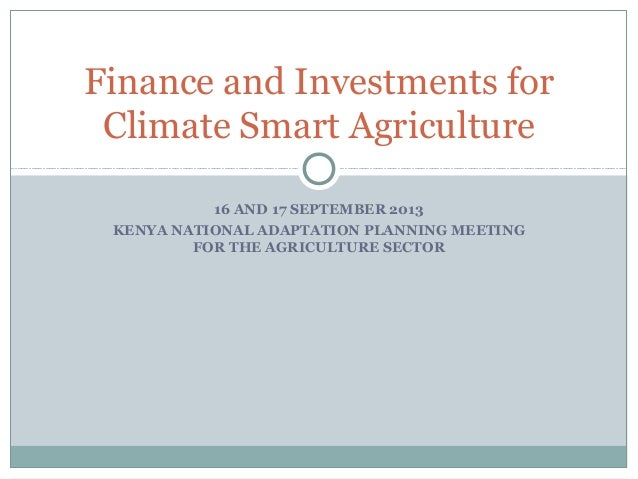 16 AND 17 SEPTEMBER 2013 KENYA NATIONAL ADAPTATION PLANNING MEETING FOR THE AGRICULTURE SECTOR Finance and Investments for...