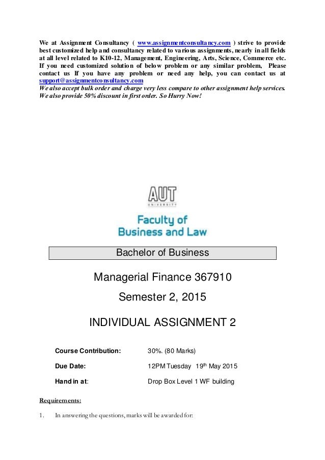 Help With College Finance Homework