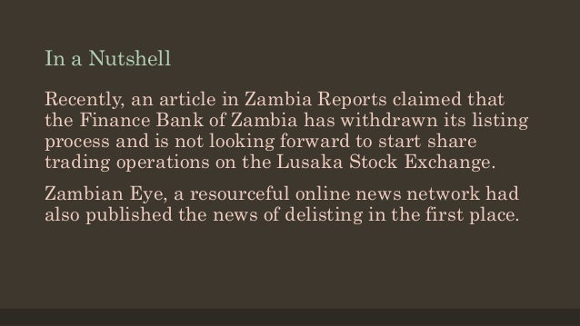 Finance bank zambia continues its listing on LUSE - 2015
