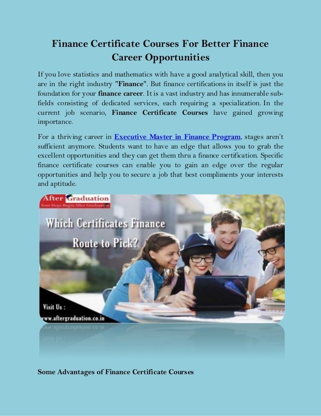 Finance Certificate Courses For Better Finance Career Opportunities
