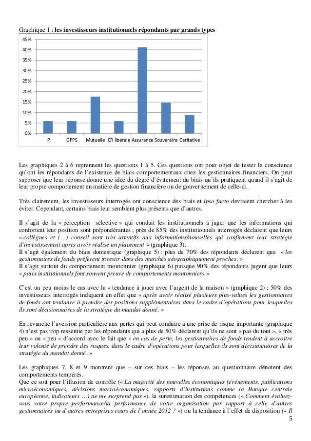 5 Graphique 1 : les investisseurs institutionnels répondants par grands types Les graphiques 2 à 6 reprennent les question...