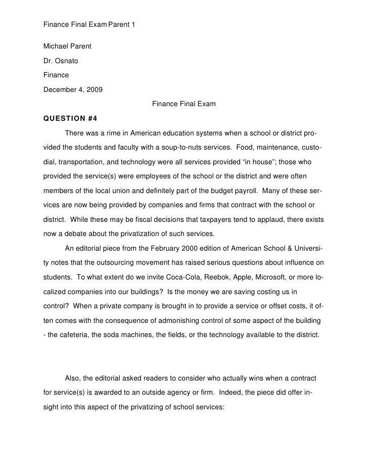 Finance Final Exam Parent 1   Michael Parent  Dr. Osnato  Finance  December 4, 2009                                      F...
