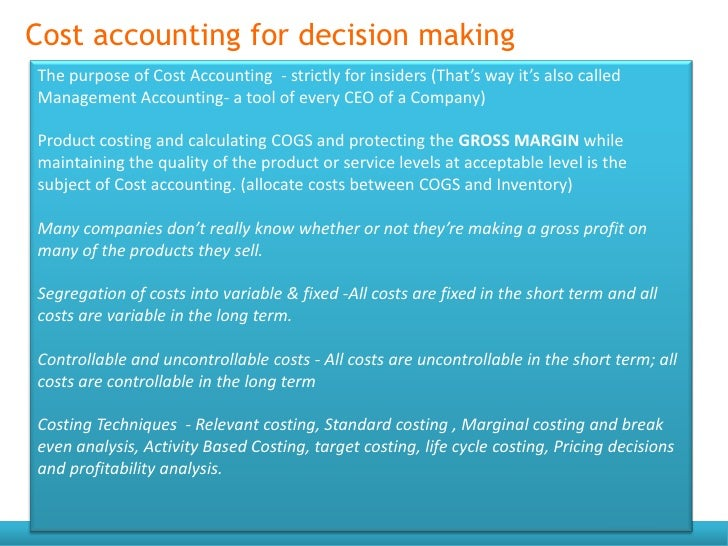 marginal costing as a tool for decision making