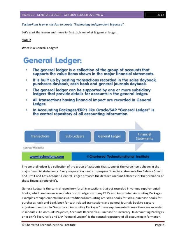 Finance - General Ledger Overview Slide 2