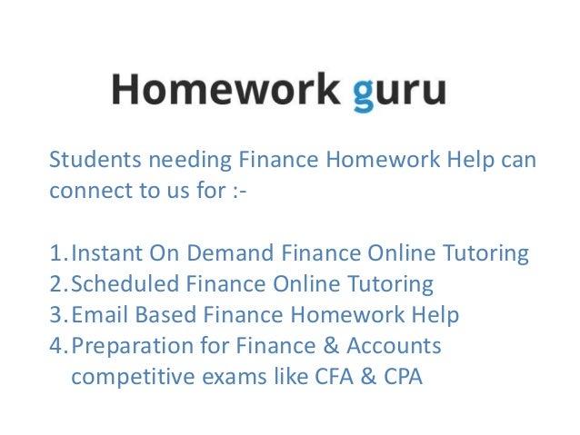 Finance homework help online