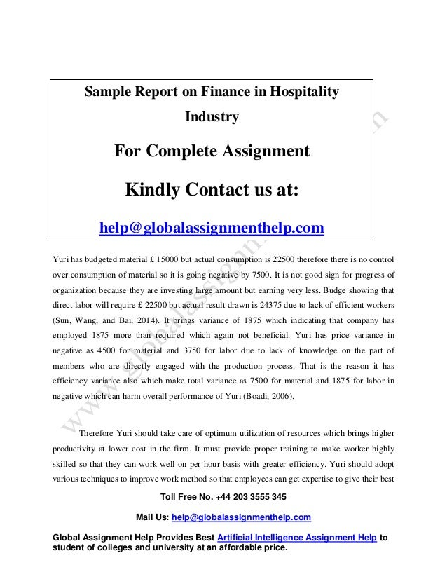 sample on finance in hospitality
