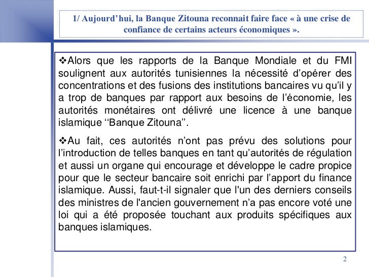 Finance Islamique En Tunisie  Cas De La Banque Zitouna Slide 2