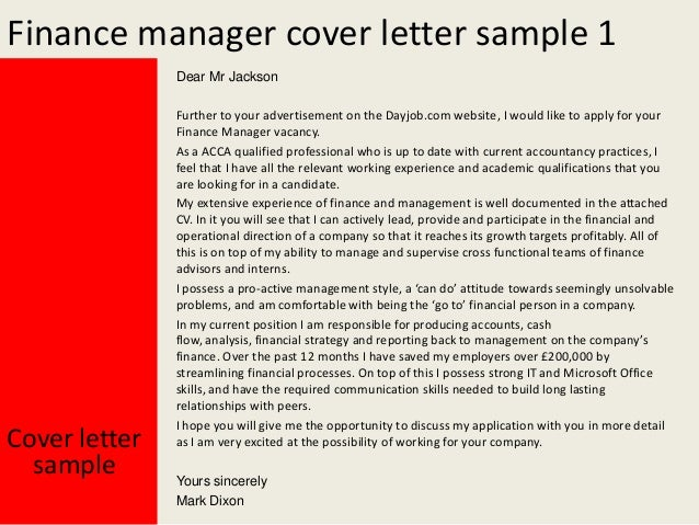 Finance manager cover letter
