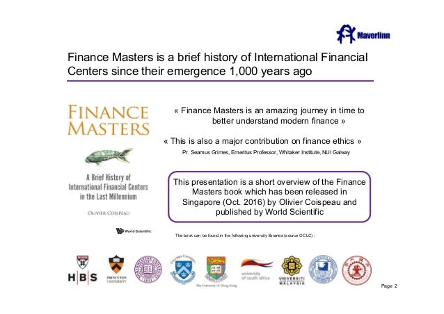 Finance Masters Is A Brief History Of International Financial Centers Since Their