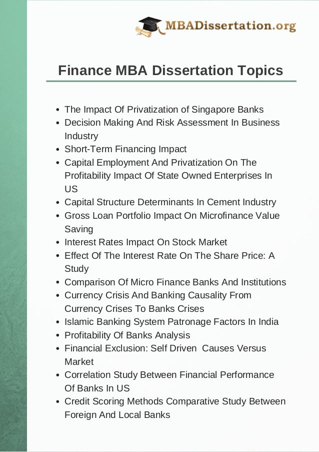 Dissertation reports of finance