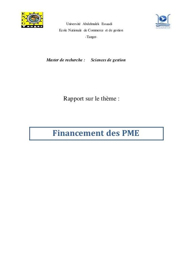 Université Abdelmalek Essaadi Ecole Nationale de Commerce et de gestion -Tanger- Master de recherche : Sciences de gestion...