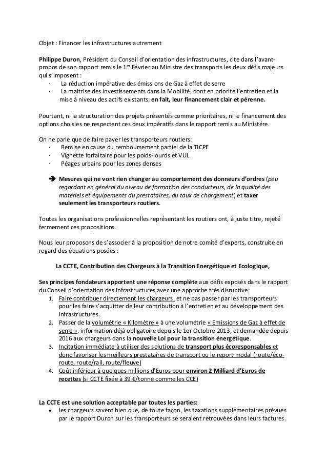 Objet : Financer les infrastructures autrement Philippe Duron, Président du Conseil d'orientation des infrastructures, cit...