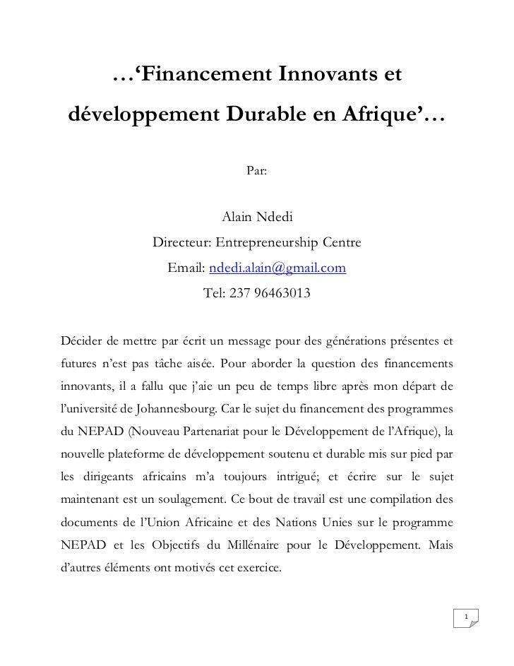Financement innovants et développement durable en afrique