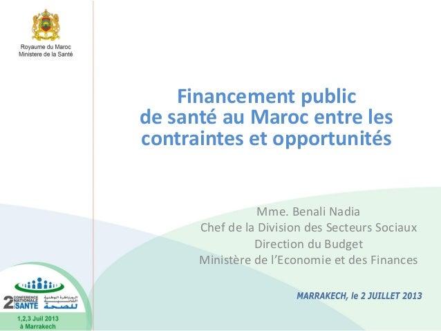 Mme. Benali Nadia Chef de la Division des Secteurs Sociaux Direction du Budget Ministère de l'Economie et des Finances Fin...