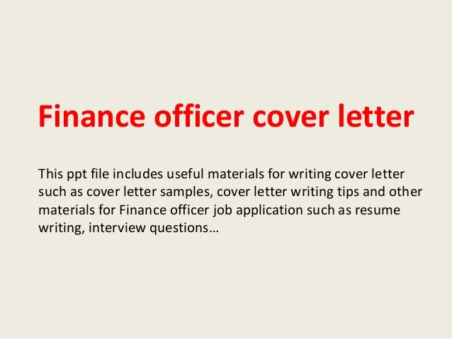finance officer cover letter
