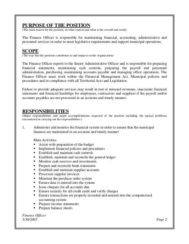 Perfect Finance Officer Job Description Gallery