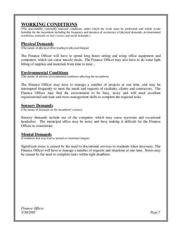 finance officer job description