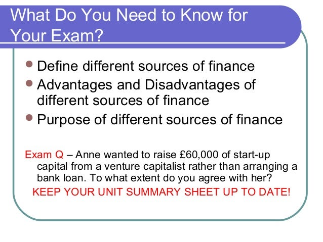 implications of different sources of finance finance essay Managing financial resources and decisions table of contents introduction 3 task 1 sources of finance for business 3 11 identification of different.
