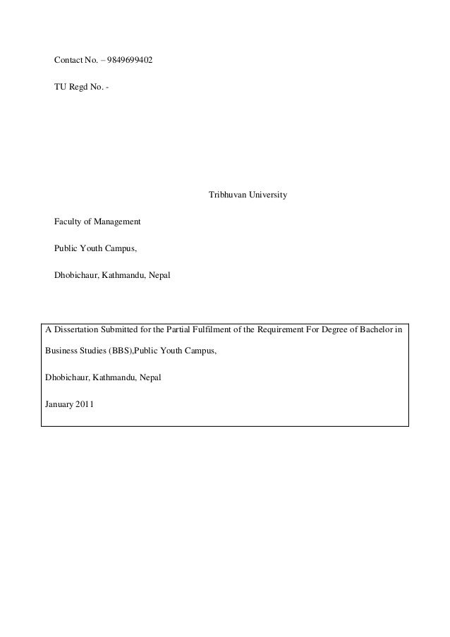 bbs 4th year finance project report sample