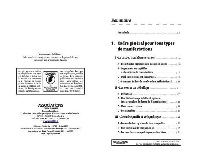 Financer son association par les six manifestations annuelles exonérées Groupe Territorial Collection Les Guides pratiques...