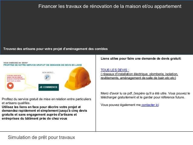 Comment financer vos travaux renovation for Simulation devis travaux