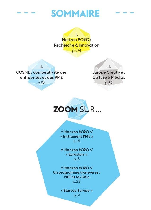 SOMMAIRE  I.  Horizon 2020 :  Recherche & Innovation  p.04  ZOOM sur...  // Horizon 2020 //  « Instrument PME »  p.14  // ...