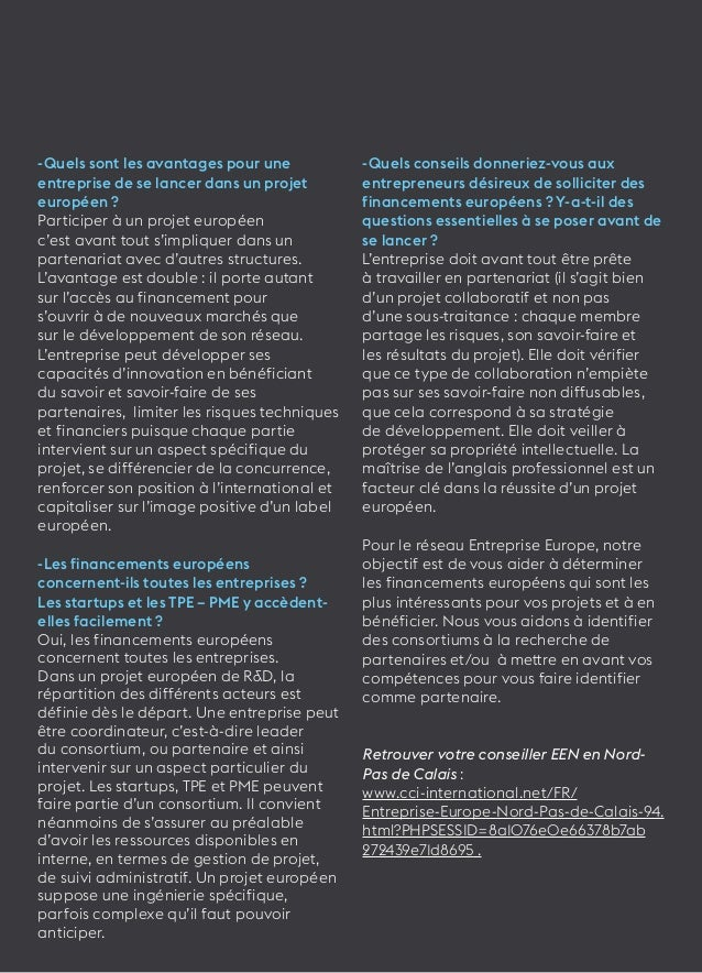33  -Quels sont les avantages pour une  entreprise de se lancer dans un projet  européen ?  Participer à un projet europée...