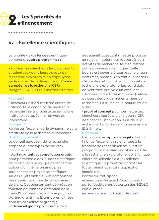 7  La priorité « Excellence scientifique »  comprend quatre programmes :  • soutenir les chercheurs les plus créatifs  et ...
