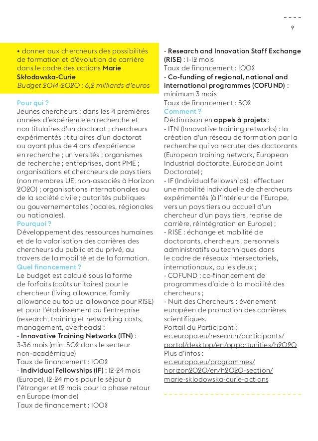 9  • donner aux chercheurs des possibilités  de formation et d'évolution de carrière  dans le cadre des actions Marie  Skł...