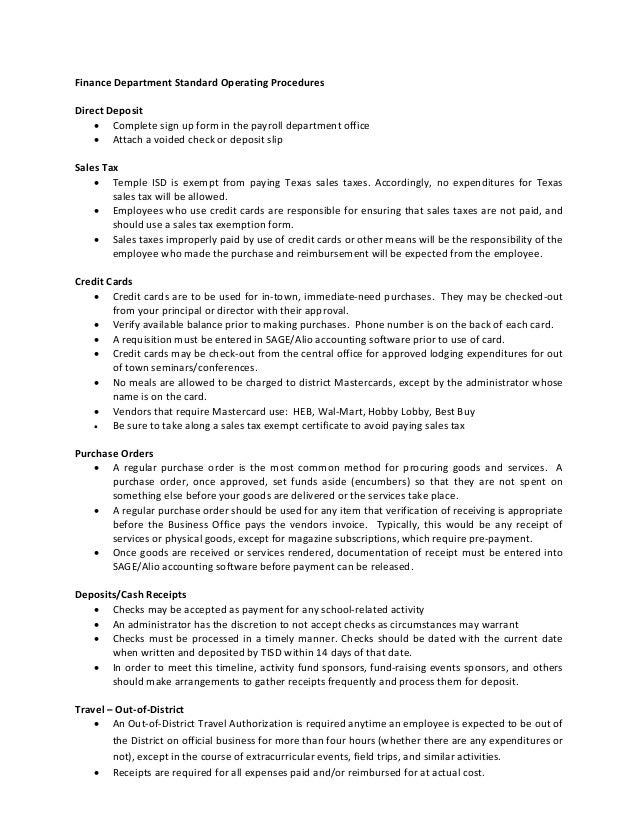 Finance Standard Operatingprocedures