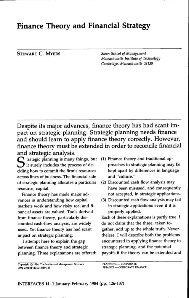 Finance Theory and Financial StrategySTEWART C . MYERS                                       Sloan School of Management   ...