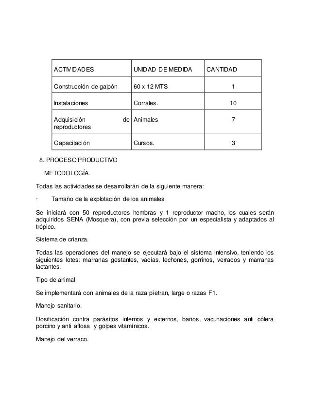ACTIVIDADES UNIDAD DE MEDIDA CANTIDAD Construcción de galpón 60 x 12 MTS 1 Instalaciones Corrales. 10 Adquisición de repro...
