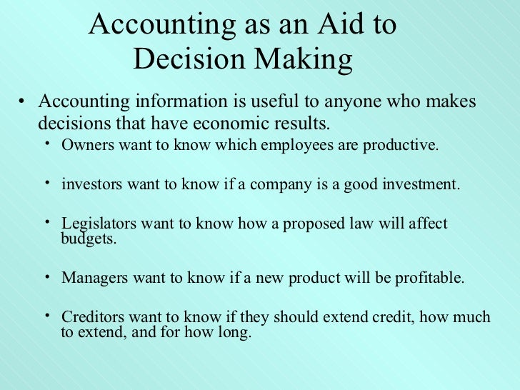 How does financial accounting help decision making?