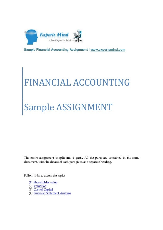 financial accounting assignment help sample financial accounting assignment expertsmind comfinancial accountingsample assignmentthe entire assignment is