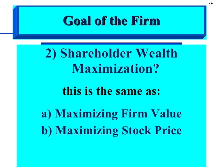 maximization of shareholder wealth essay Shareholder wealth maximization is the attempt by business managers to maximize the wealth of the firm they run, which results in rising stock prices that increase the net worth of shareholders.