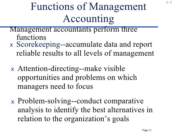 Scorekeeping attention directing and problem solving management accounting