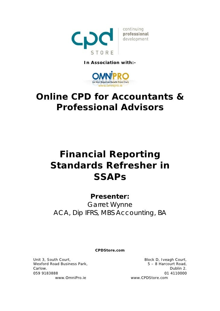 Financial Reporting Standards Refresher in SSAPs