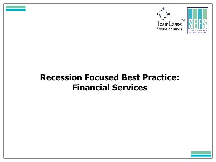Recession Focused Best Practice: Financial Services