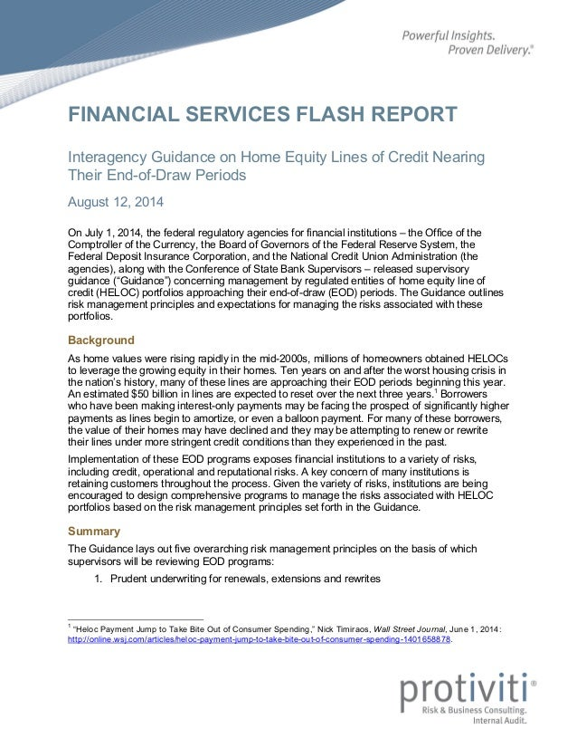 FINANCIAL SERVICES FLASH REPORT Interagency Guidance on Home Equity Lines of Credit Nearing Their End-of-Draw Periods Augu...