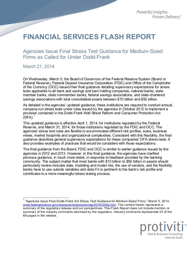 FINANCIAL SERVICES FLASH REPORT Agencies Issue Final Stress Test Guidance for Medium-Sized Firms as Called for Under Dodd-...