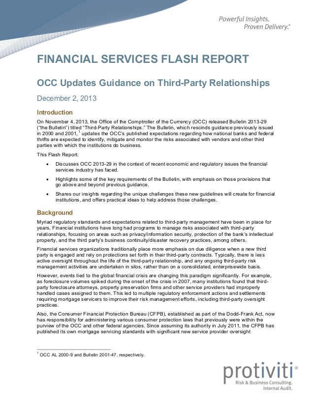 FINANCIAL SERVICES FLASH REPORT OCC Updates Guidance on Third-Party Relationships December 2, 2013 Introduction On Novembe...