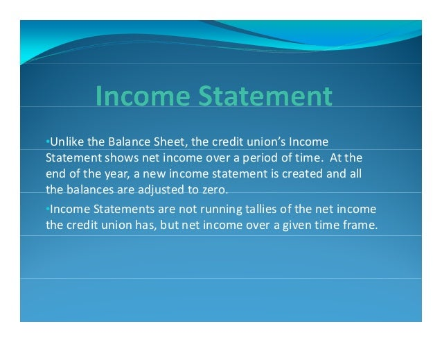 Utilities Employees Credit Union >> Understanding Credit Union Financial Statements